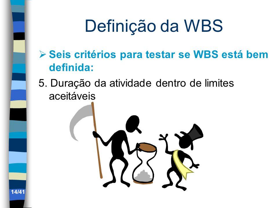 Definição da WBS Seis critérios para testar se WBS está bem definida: 5. Duração da atividade dentro de limites aceitáveis 14/41