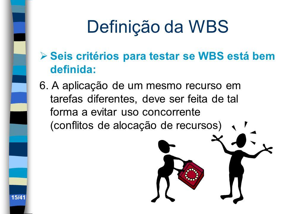 Definição da WBS Seis critérios para testar se WBS está bem definida: 6. A aplicação de um mesmo recurso em tarefas diferentes, deve ser feita de tal