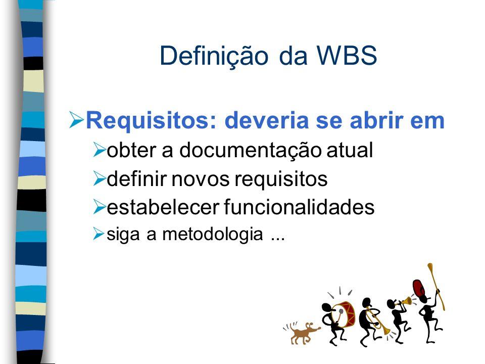 Definição da WBS Requisitos: deveria se abrir em obter a documentação atual definir novos requisitos estabelecer funcionalidades siga a metodologia...
