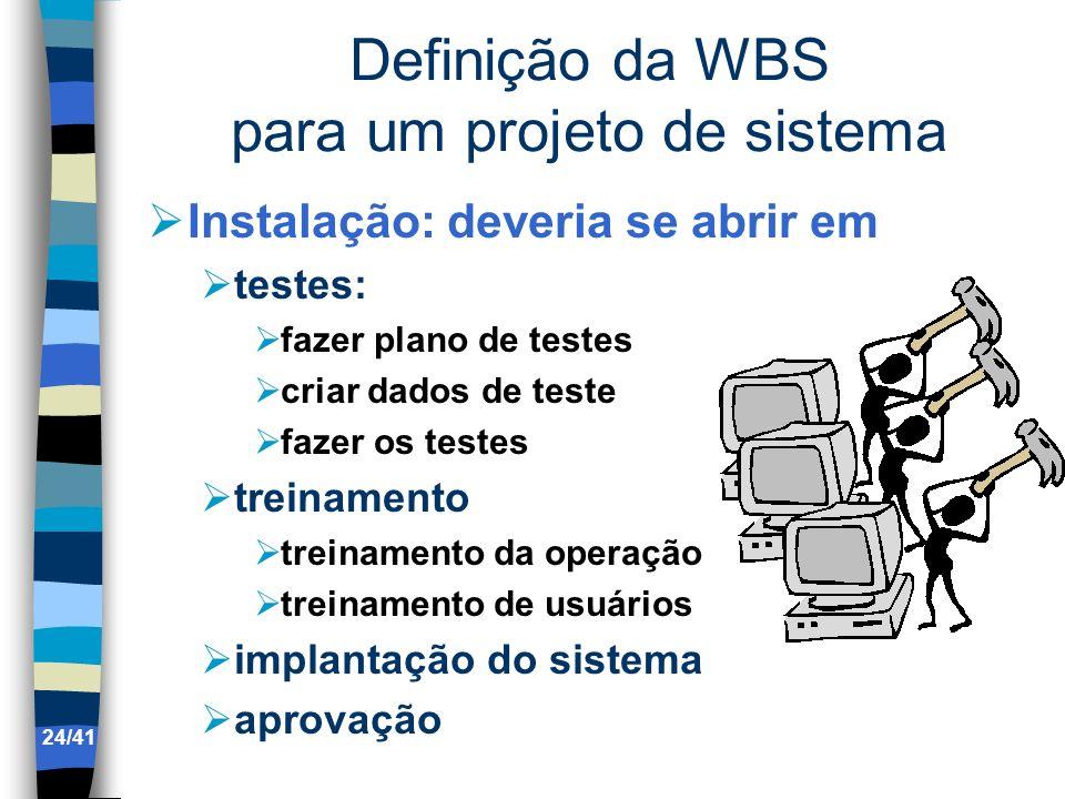 Definição da WBS para um projeto de sistema Instalação: deveria se abrir em testes: fazer plano de testes criar dados de teste fazer os testes treinam