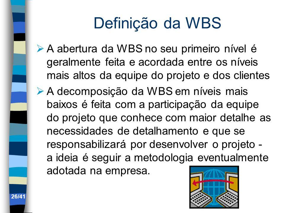 Definição da WBS A abertura da WBS no seu primeiro nível é geralmente feita e acordada entre os níveis mais altos da equipe do projeto e dos clientes