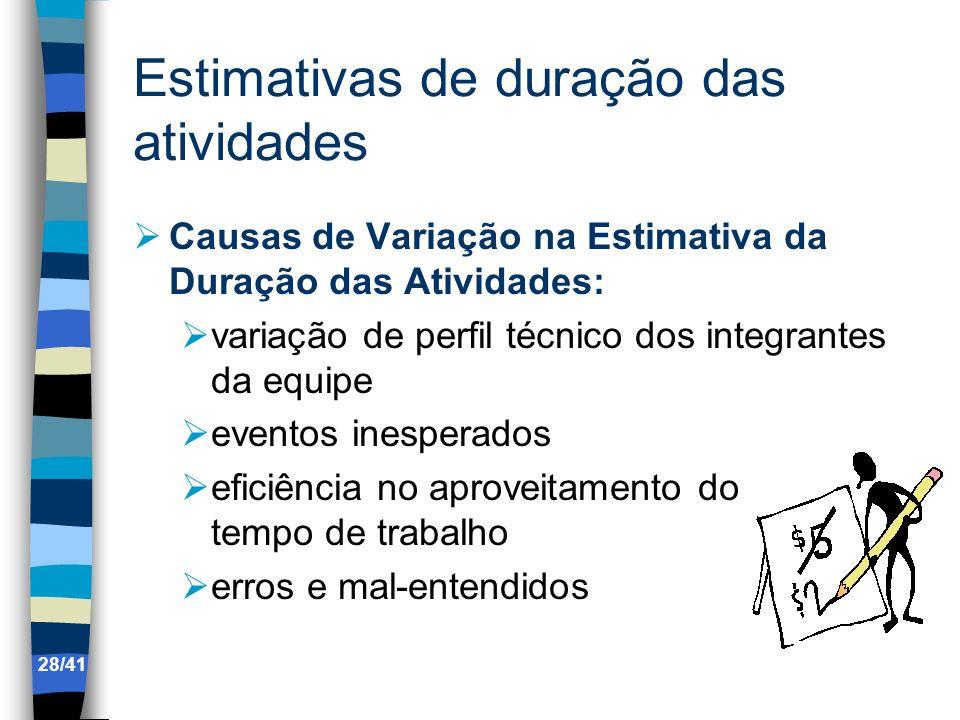 Estimativas de duração das atividades Causas de Variação na Estimativa da Duração das Atividades: variação de perfil técnico dos integrantes da equipe