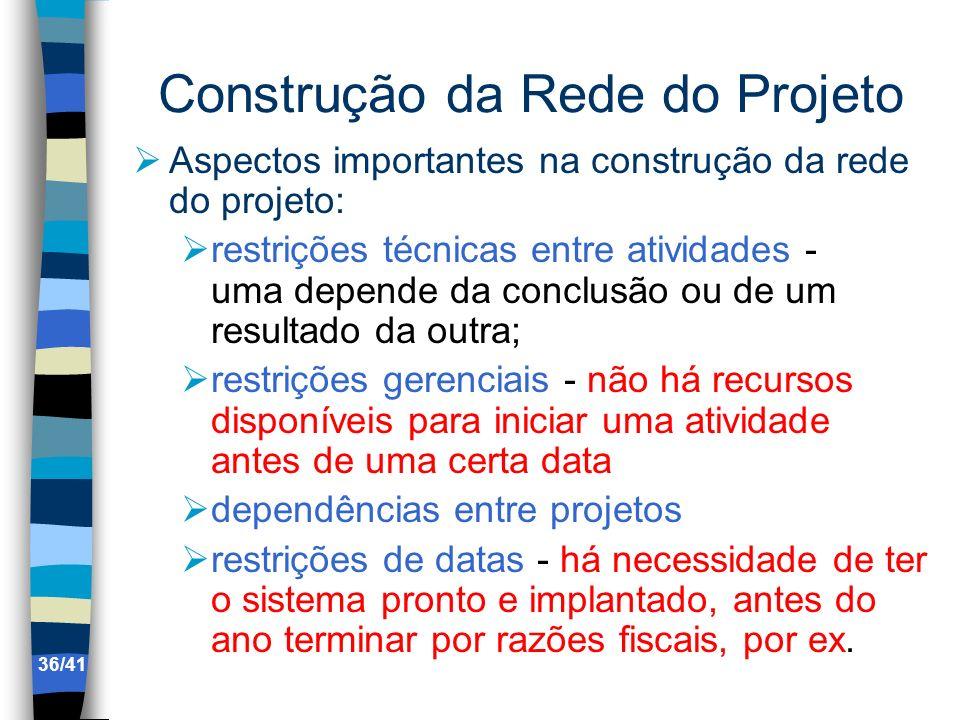 Construção da Rede do Projeto Aspectos importantes na construção da rede do projeto: restrições técnicas entre atividades - uma depende da conclusão o