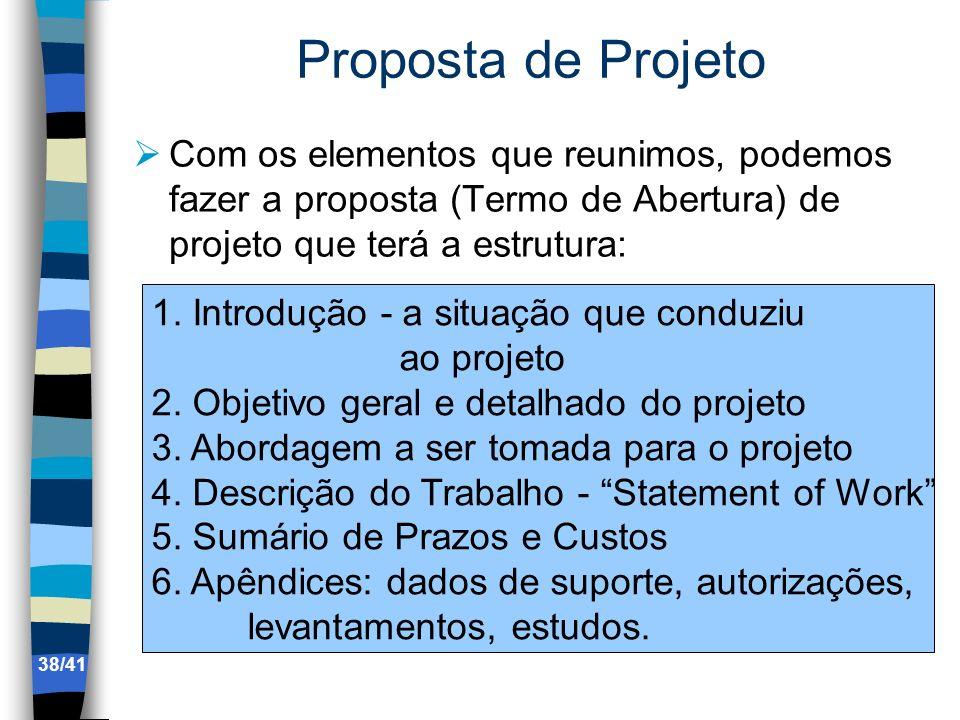 Proposta de Projeto Com os elementos que reunimos, podemos fazer a proposta (Termo de Abertura) de projeto que terá a estrutura: 1. Introdução - a sit