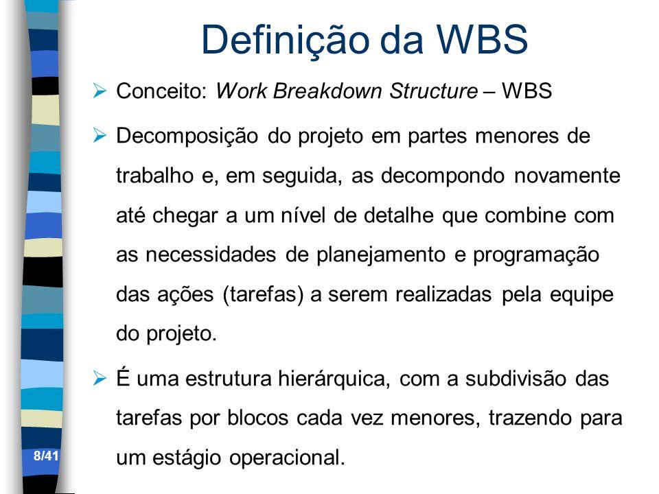 Definição da WBS Conceito: Work Breakdown Structure – WBS Decomposição do projeto em partes menores de trabalho e, em seguida, as decompondo novamente