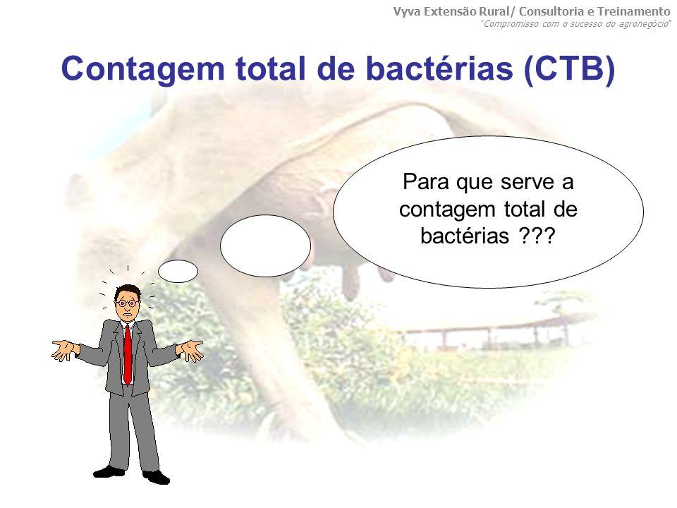 Contagem total de bactérias (CTB) Para que serve a contagem total de bactérias ??? Vyva Extensão Rural/ Consultoria e Treinamento Compromisso com o su