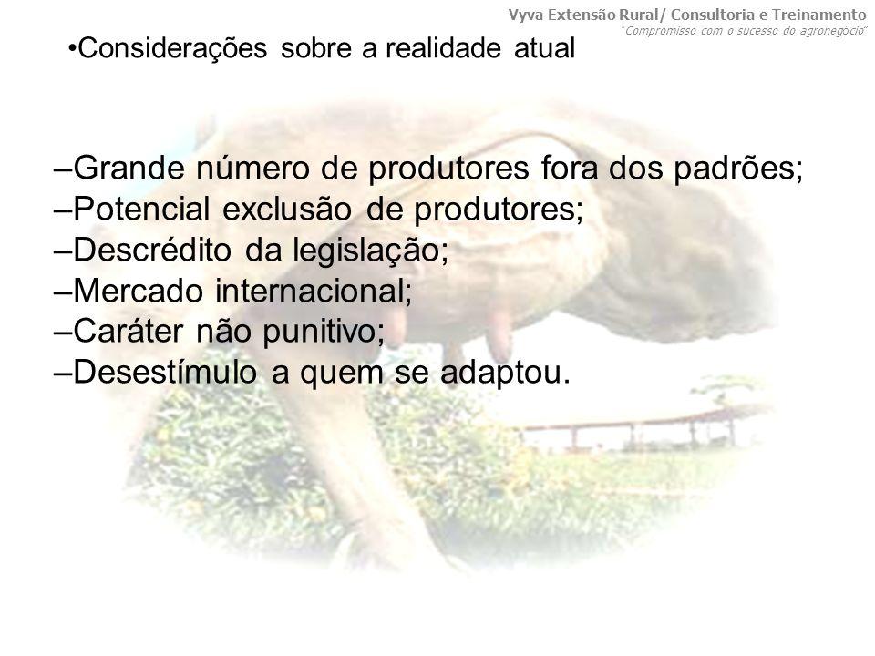 –Grande número de produtores fora dos padrões; –Potencial exclusão de produtores; –Descrédito da legislação; –Mercado internacional; –Caráter não puni