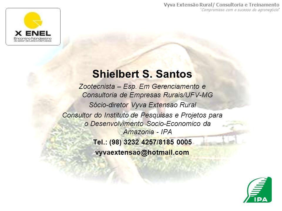 Shielbert S. Santos Zootecnista – Esp. Em Gerenciamento e Consultoria de Empresas Rurais/UFV-MG Sócio-diretor Vyva Extensao Rural Consultor do Institu