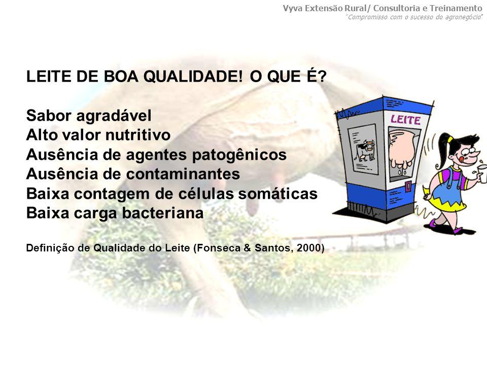 LEITE DE BOA QUALIDADE! O QUE É? Sabor agradável Alto valor nutritivo Ausência de agentes patogênicos Ausência de contaminantes Baixa contagem de célu
