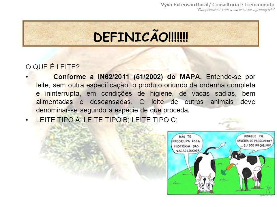 O QUE É LEITE? Conforme a IN62/2011 (51/2002) do MAPA, Entende-se por leite, sem outra especificação, o produto oriundo da ordenha completa e ininterr