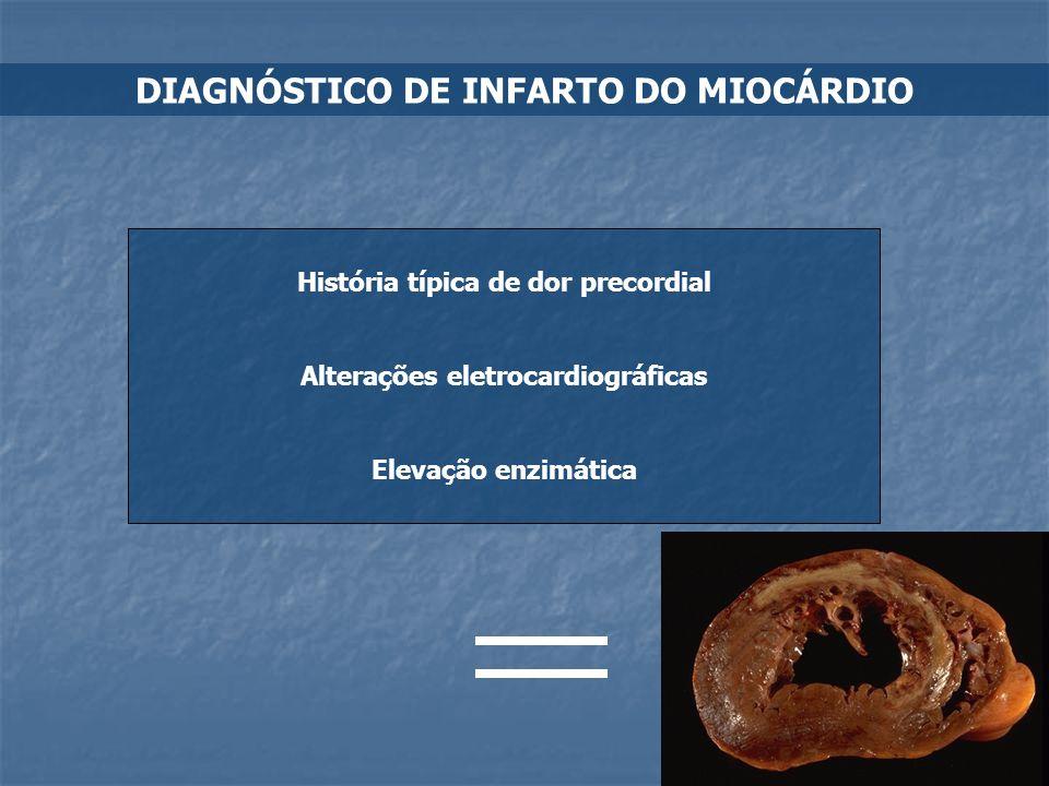 DIAGNÓSTICO DE INFARTO DO MIOCÁRDIO História típica de dor precordial Alterações eletrocardiográficas Elevação enzimática