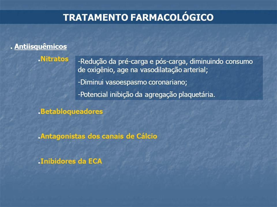 TRATAMENTO FARMACOLÓGICO. Antiisquêmicos.Nitratos -Redução da pré-carga e pós-carga, diminuindo consumo de oxigênio, age na vasodilatação arterial; -D