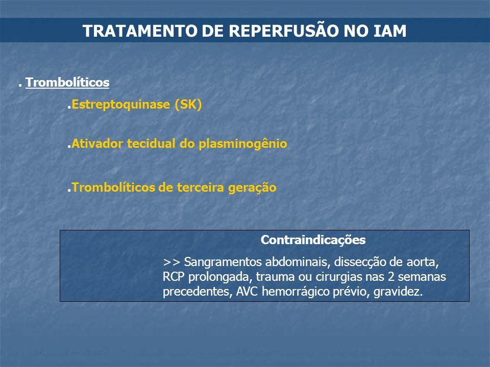 TRATAMENTO DE REPERFUSÃO NO IAM. Trombolíticos.Estreptoquinase (SK).Ativador tecidual do plasminogênio.Trombolíticos de terceira geração Contraindicaç