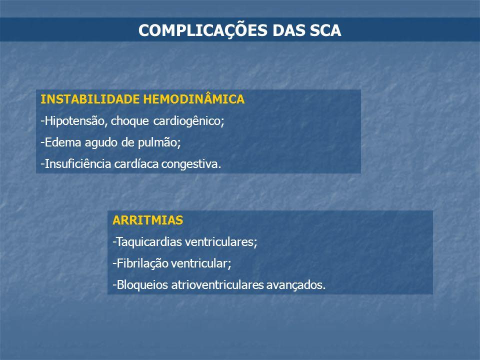 COMPLICAÇÕES DAS SCA INSTABILIDADE HEMODINÂMICA -Hipotensão, choque cardiogênico; -Edema agudo de pulmão; -Insuficiência cardíaca congestiva. ARRITMIA