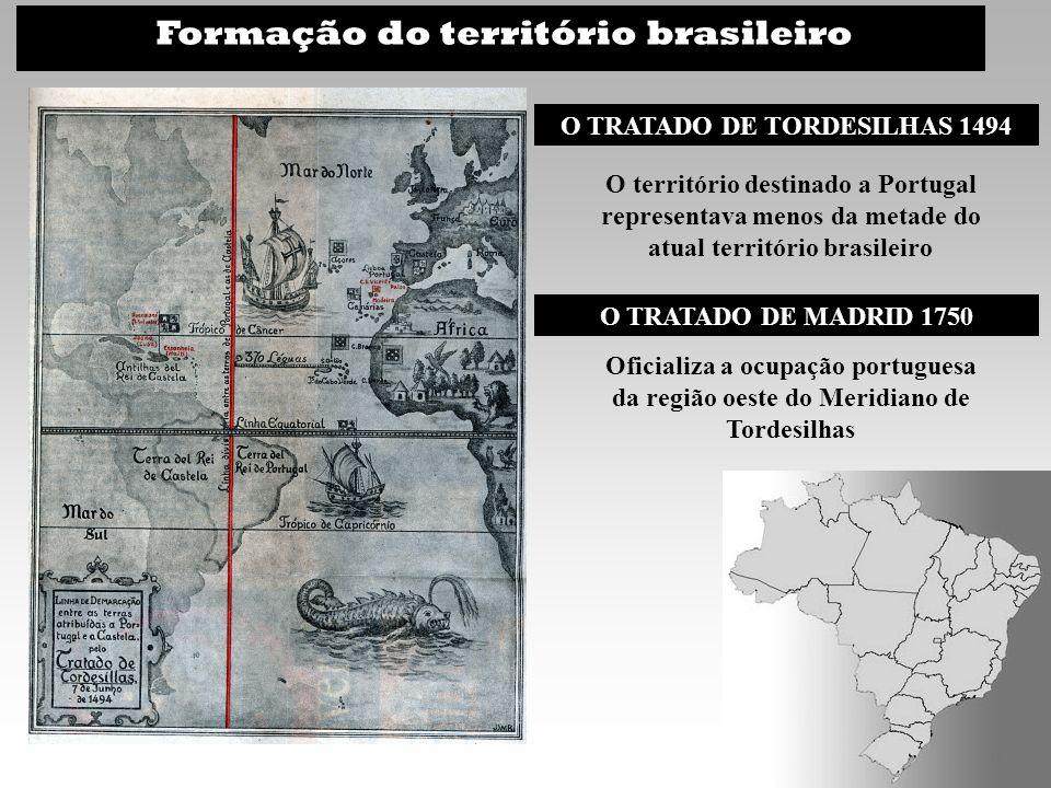 Formação do território brasileiro O TRATADO DE TORDESILHAS 1494 O território destinado a Portugal representava menos da metade do atual território bra