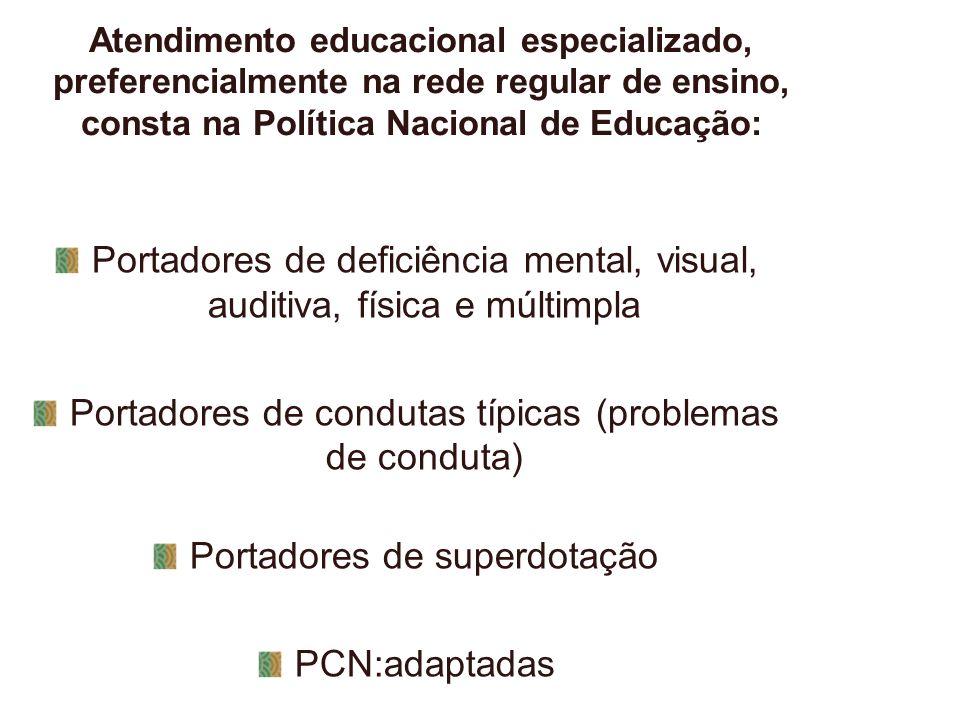 Atendimento educacional especializado, preferencialmente na rede regular de ensino, consta na Política Nacional de Educação: Portadores de deficiência