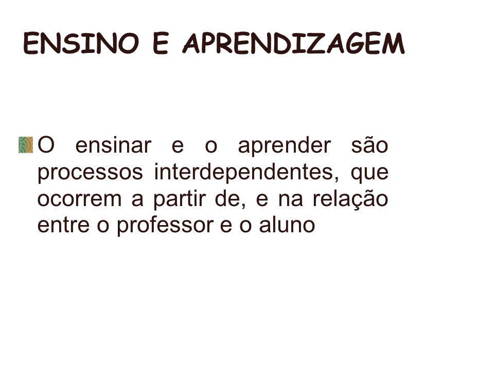 ENSINO E APRENDIZAGEM O ensinar e o aprender são processos interdependentes, que ocorrem a partir de, e na relação entre o professor e o aluno