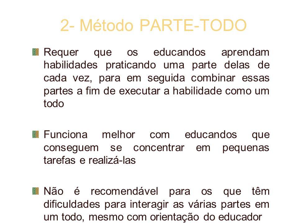 2- Método PARTE-TODO Requer que os educandos aprendam habilidades praticando uma parte delas de cada vez, para em seguida combinar essas partes a fim