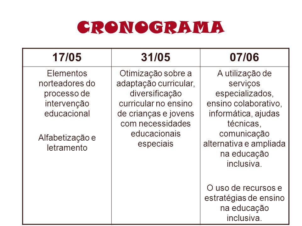 CRONOGRAMA 17/0531/0507/06 Elementos norteadores do processo de intervenção educacional Alfabetização e letramento Otimização sobre a adaptação curric