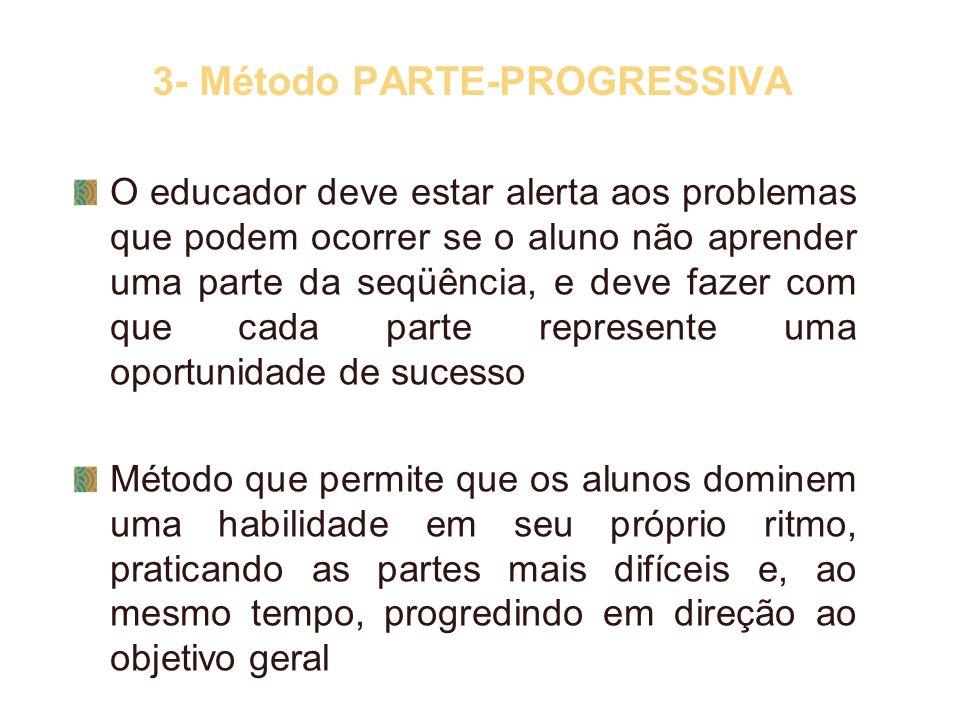 3- Método PARTE-PROGRESSIVA O educador deve estar alerta aos problemas que podem ocorrer se o aluno não aprender uma parte da seqüência, e deve fazer