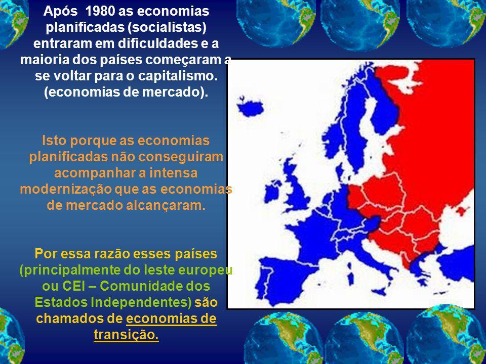 Após 1980 as economias planificadas (socialistas) entraram em dificuldades e a maioria dos países começaram a se voltar para o capitalismo. (economias
