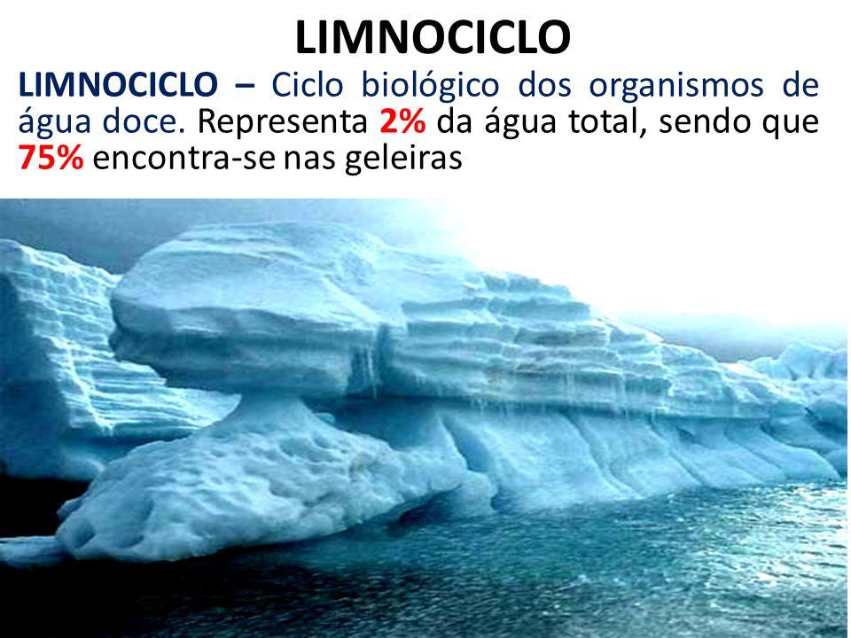 LIMNOCICLO LIMNOCICLO – Ciclo biológico dos organismos de água doce. Representa 2% da água total, sendo que 75% encontra-se nas geleiras