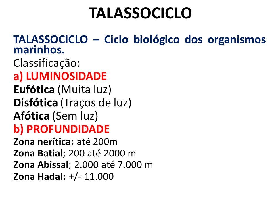TALASSOCICLO TALASSOCICLO – Ciclo biológico dos organismos marinhos. Classificação: a) LUMINOSIDADE Eufótica (Muita luz) Disfótica (Traços de luz) Afó