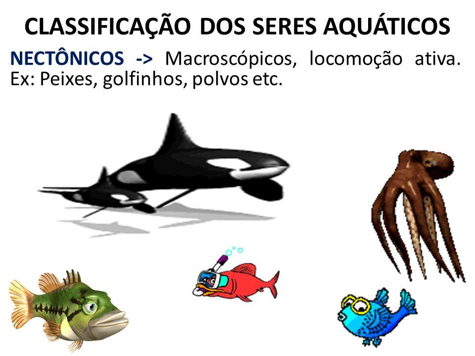 CLASSIFICAÇÃO DOS SERES AQUÁTICOS NECTÔNICOS -> Macroscópicos, locomoção ativa. Ex: Peixes, golfinhos, polvos etc.