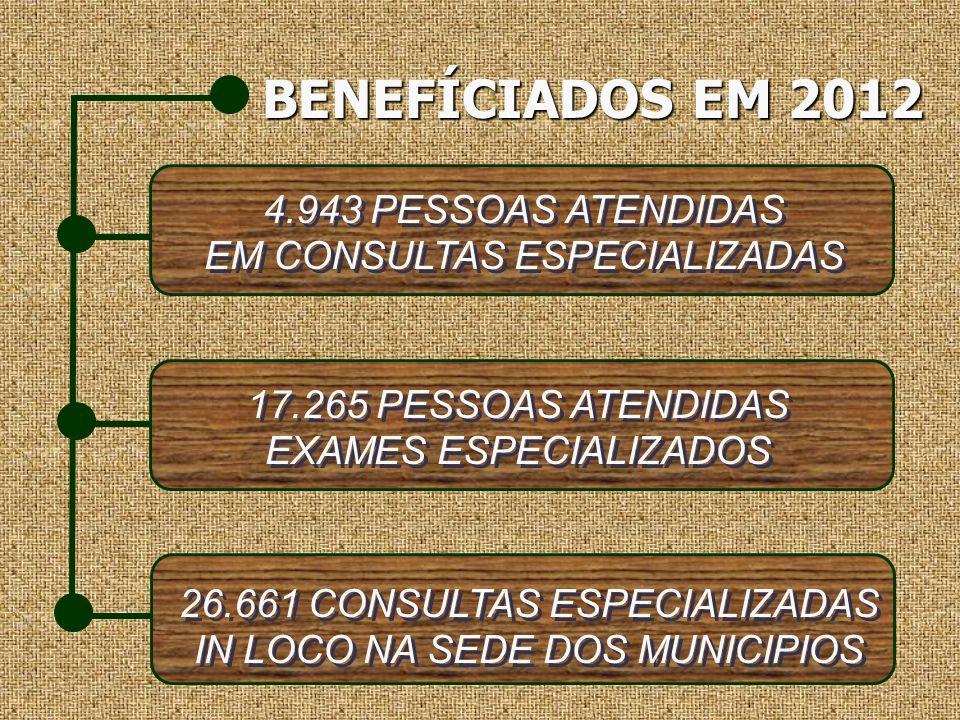 BENEFÍCIADOS EM 2012 BENEFÍCIADOS EM 2012 4.943 PESSOAS ATENDIDAS EM CONSULTAS ESPECIALIZADAS 4.943 PESSOAS ATENDIDAS EM CONSULTAS ESPECIALIZADAS 17.2
