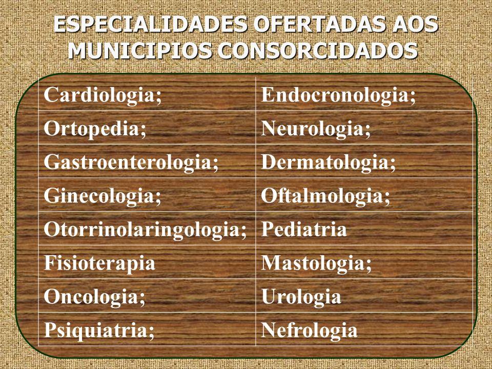 ESPECIALIDADES OFERTADAS AOS MUNICIPIOS CONSORCIDADOS ESPECIALIDADES OFERTADAS AOS MUNICIPIOS CONSORCIDADOS Cardiologia;Endocronologia; Ortopedia;Neur