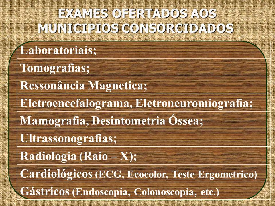 EXAMES OFERTADOS AOS MUNICIPIOS CONSORCIDADOS EXAMES OFERTADOS AOS MUNICIPIOS CONSORCIDADOS Laboratoriais; Tomografias; Ressonância Magnetica; Eletroe
