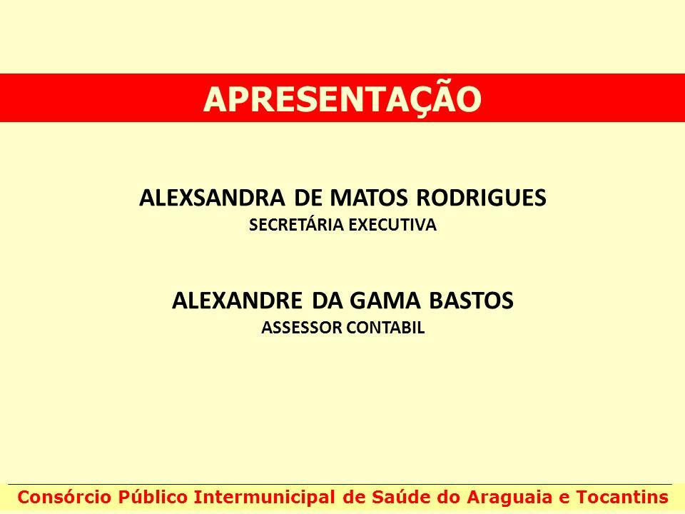 ALEXSANDRA DE MATOS RODRIGUES SECRETÁRIA EXECUTIVA ALEXANDRE DA GAMA BASTOS ASSESSOR CONTABIL APRESENTAÇÃO Consórcio Público Intermunicipal de Saúde d