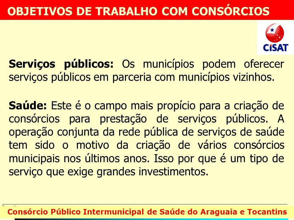 Serviços públicos: Os municípios podem oferecer serviços públicos em parceria com municípios vizinhos. Consórcio Público Intermunicipal de Saúde do Ar