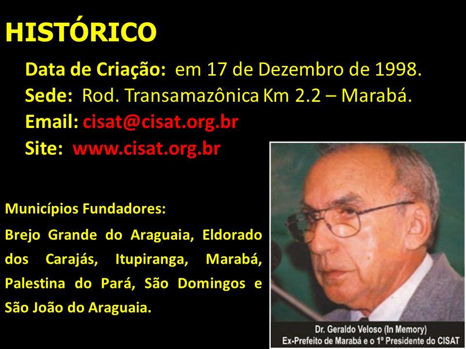 HISTÓRICO Municípios Fundadores: Brejo Grande do Araguaia, Eldorado dos Carajás, Itupiranga, Marabá, Palestina do Pará, São Domingos e São João do Ara