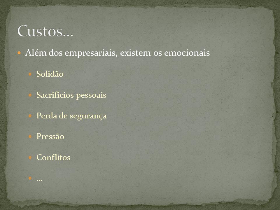 Além dos empresariais, existem os emocionais Solidão Sacrifícios pessoais Perda de segurança Pressão Conflitos...