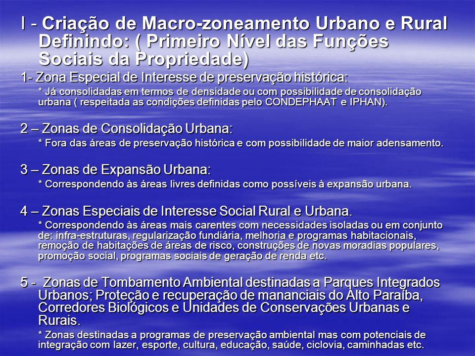 I - Criação de Macro-zoneamento Urbano e Rural Definindo: ( Primeiro Nível das Funções Sociais da Propriedade) 1- Zona Especial de Interesse de preser