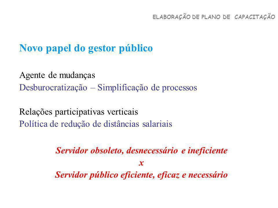 Novo papel do gestor público Agente de mudanças Desburocratização – Simplificação de processos Relações participativas verticais Política de redução d