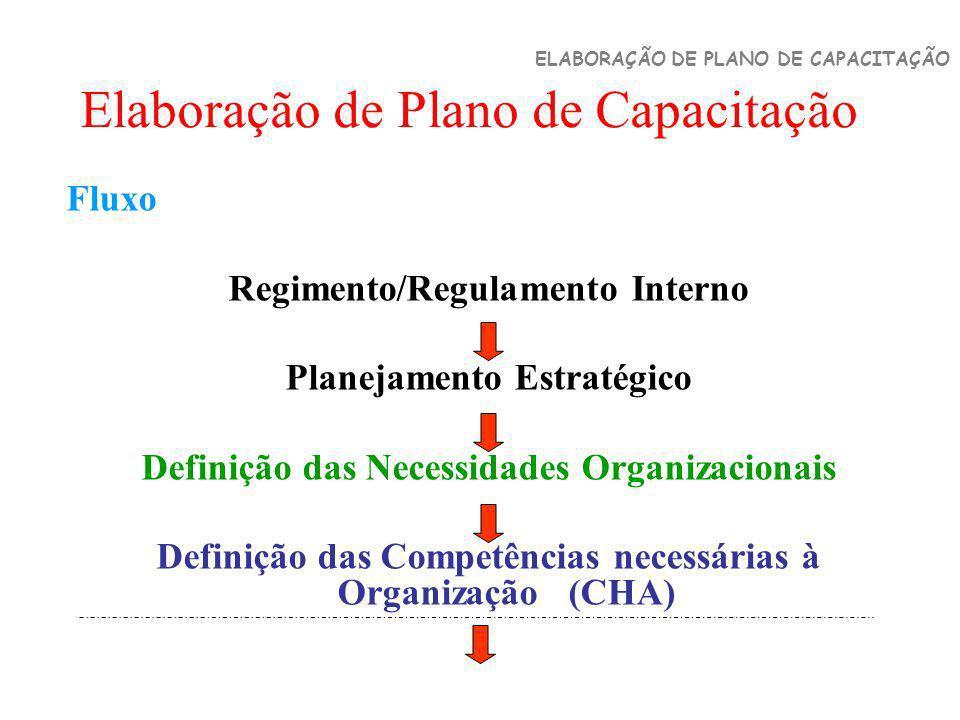 Elaboração de Plano de Capacitação ELABORAÇÃO DE PLANO DE CAPACITAÇÃO Fluxo Regimento/Regulamento Interno Planejamento Estratégico Definição das Neces