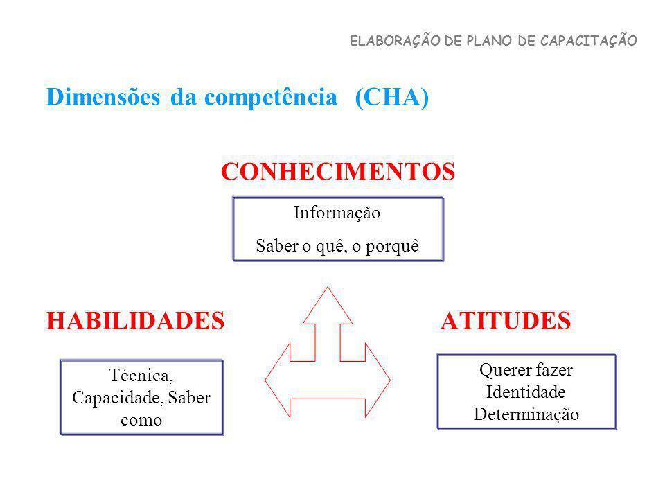 Dimensões da competência (CHA) CONHECIMENTOS HABILIDADES ATITUDES Informação Saber o quê, o porquê Técnica, Capacidade, Saber como Querer fazer Identi