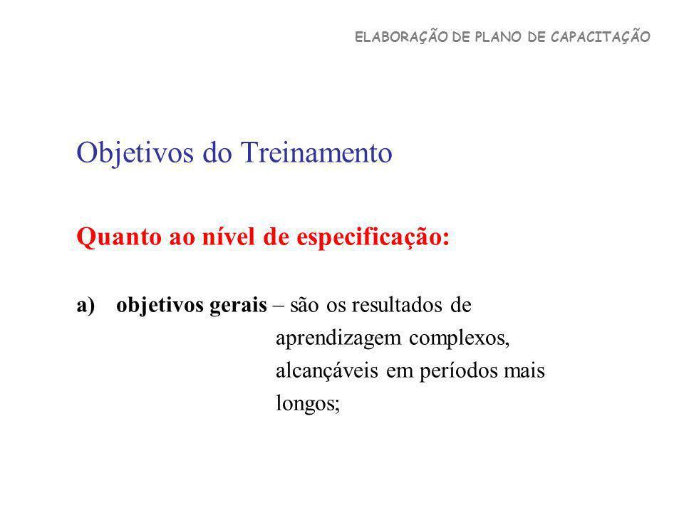 Objetivos do Treinamento Quanto ao nível de especificação: a)objetivos gerais – são os resultados de aprendizagem complexos, alcançáveis em períodos m