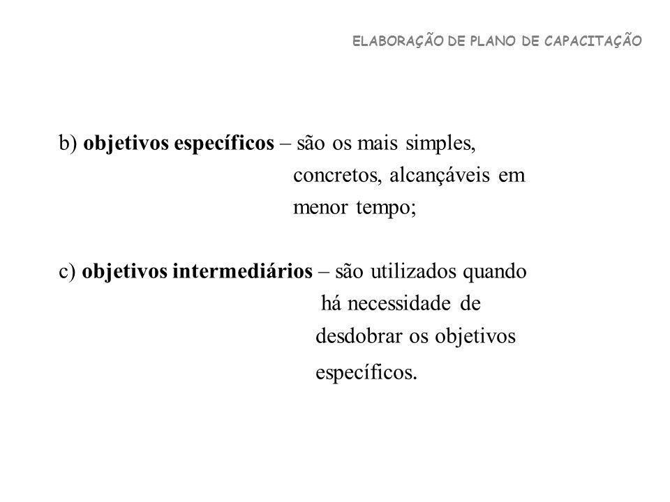 b) objetivos específicos – são os mais simples, concretos, alcançáveis em menor tempo; c) objetivos intermediários – são utilizados quando há necessid