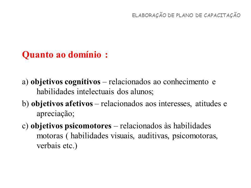 Quanto ao domínio : a) objetivos cognitivos – relacionados ao conhecimento e habilidades intelectuais dos alunos; b) objetivos afetivos – relacionados
