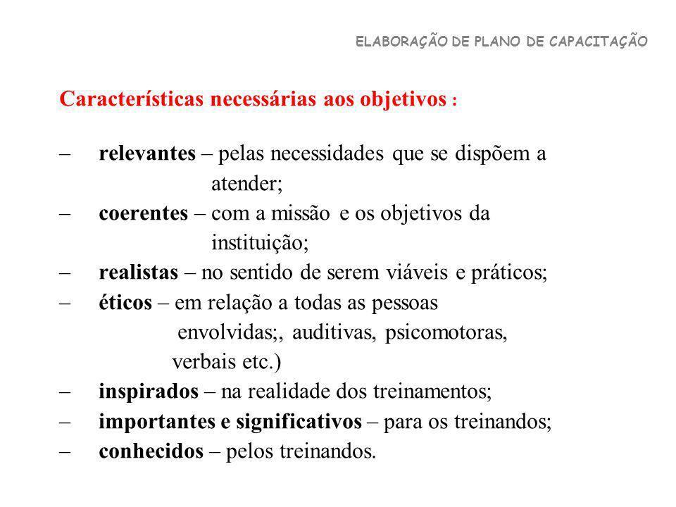 Características necessárias aos objetivos : –relevantes – pelas necessidades que se dispõem a atender; –coerentes – com a missão e os objetivos da ins