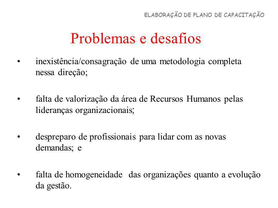 Problemas e desafios inexistência/consagração de uma metodologia completa nessa direção; falta de valorização da área de Recursos Humanos pelas lidera