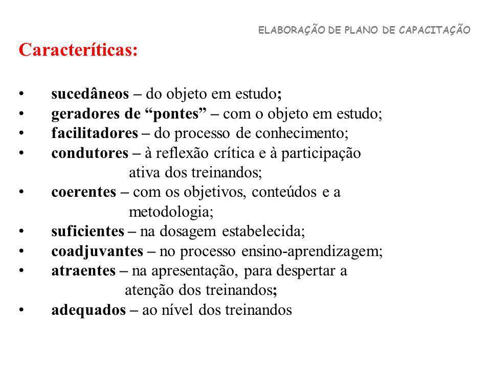 Caracteríticas: sucedâneos – do objeto em estudo; geradores de pontes – com o objeto em estudo; facilitadores – do processo de conhecimento; condutore