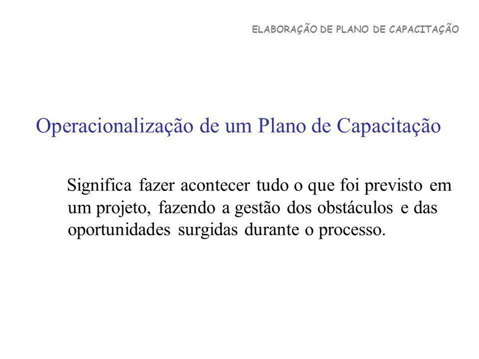 Operacionalização de um Plano de Capacitação Significa fazer acontecer tudo o que foi previsto em um projeto, fazendo a gestão dos obstáculos e das op