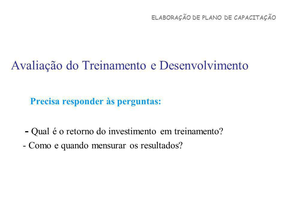 Avaliação do Treinamento e Desenvolvimento Precisa responder às perguntas: - Qual é o retorno do investimento em treinamento? - Como e quando mensurar