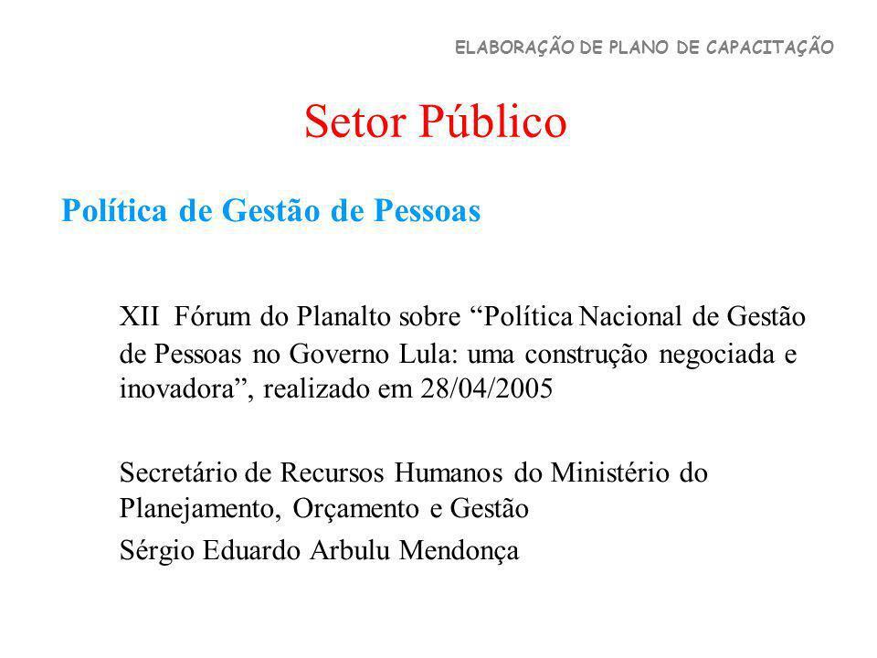 Setor Público Política de Gestão de Pessoas XII Fórum do Planalto sobre Política Nacional de Gestão de Pessoas no Governo Lula: uma construção negocia