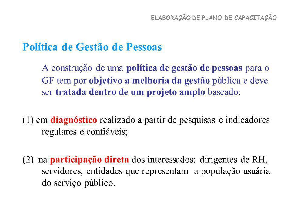 Política de Gestão de Pessoas A construção de uma política de gestão de pessoas para o GF tem por objetivo a melhoria da gestão pública e deve ser tra