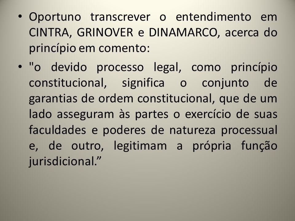 Oportuno transcrever o entendimento em CINTRA, GRINOVER e DINAMARCO, acerca do princípio em comento: